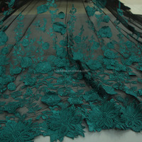 2015 Newest Top grade double floral embroidery tulle fabric green french lace for Bride dress HY0290-1