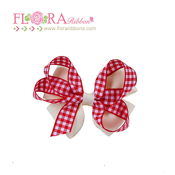 Factory price boutique checked ribbon bow hair accessories