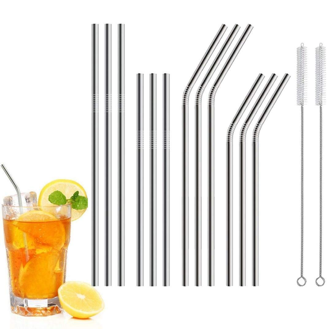 Rumas 8.5'' 10.5'' Drinking Straws Set of 12 - Stainless Steel Straws for 20oz 30oz Tumblers - Lead Free Metal Starws for Kids Adults Juice Beverage - 6Pcs Straight / 6Pcs Bent / 2Pcs Brushes (Silver)