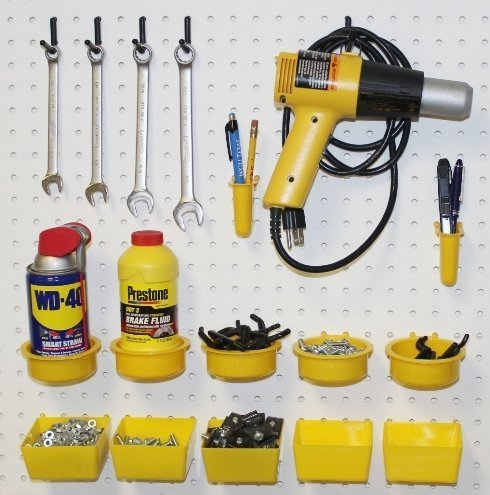 WallPeg 64 Jumbo Pegboard Accessory Kit with 12 Part Bins & 50 Locking Peg Hooks AM 640