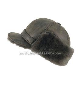 07b3d477923 Genuine Shearling Sheepskin and Leather Pilot Elmer Fudd Trapper Fur Hat -  Gri