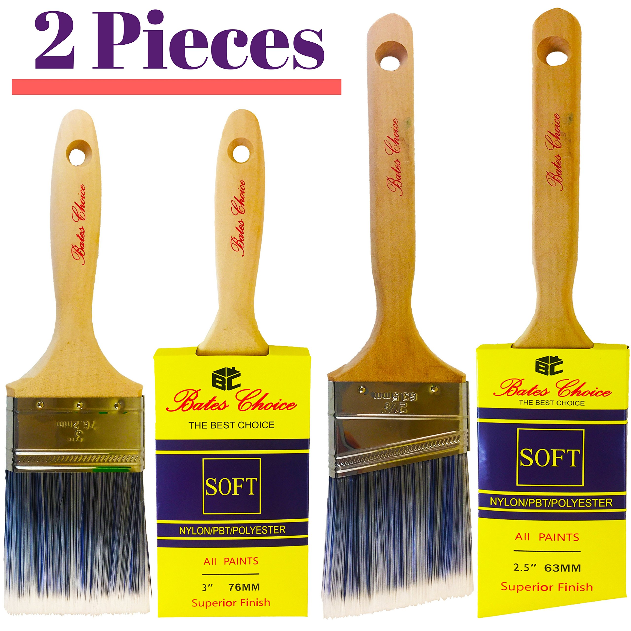 Bates - Paint Brushes, 2 Pieces (3-Inch and Angle 2.5-Inch), Trim Paint Brush, Premium Paintbrush, Paint Brushes for Walls, Angle Sash Paint Brush, Professional Wall Brush Set, Home Paint Brushes