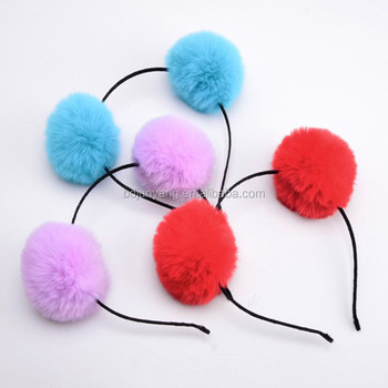 Popular colored animal fake fur trimming pompom wholesale hair accessories
