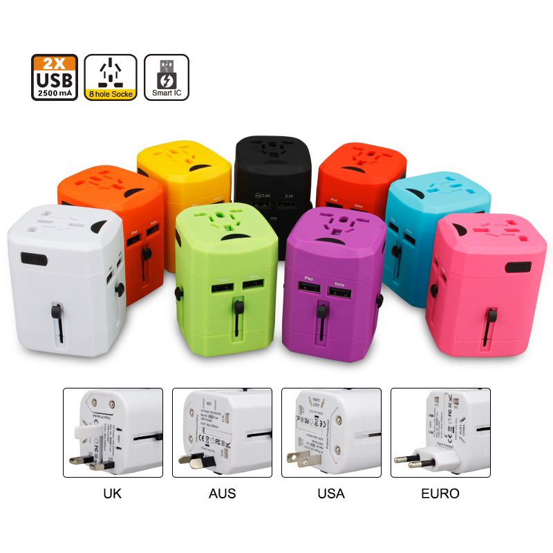 Charger Adapter Accessories Portable Flexibility Dual usb travel charger 5V2.5A with UK/EU/AU/US plug quick charge