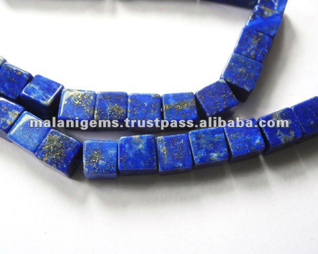 Natural Lapis Lazuli Plain Cube Calibrated Loose Beads