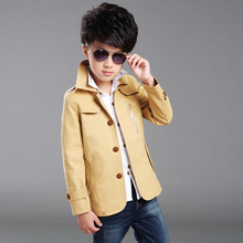 2016 New Fashion Spring Boys Jackets Trench Coats Kids Jacket Button Children Outerwear Coat