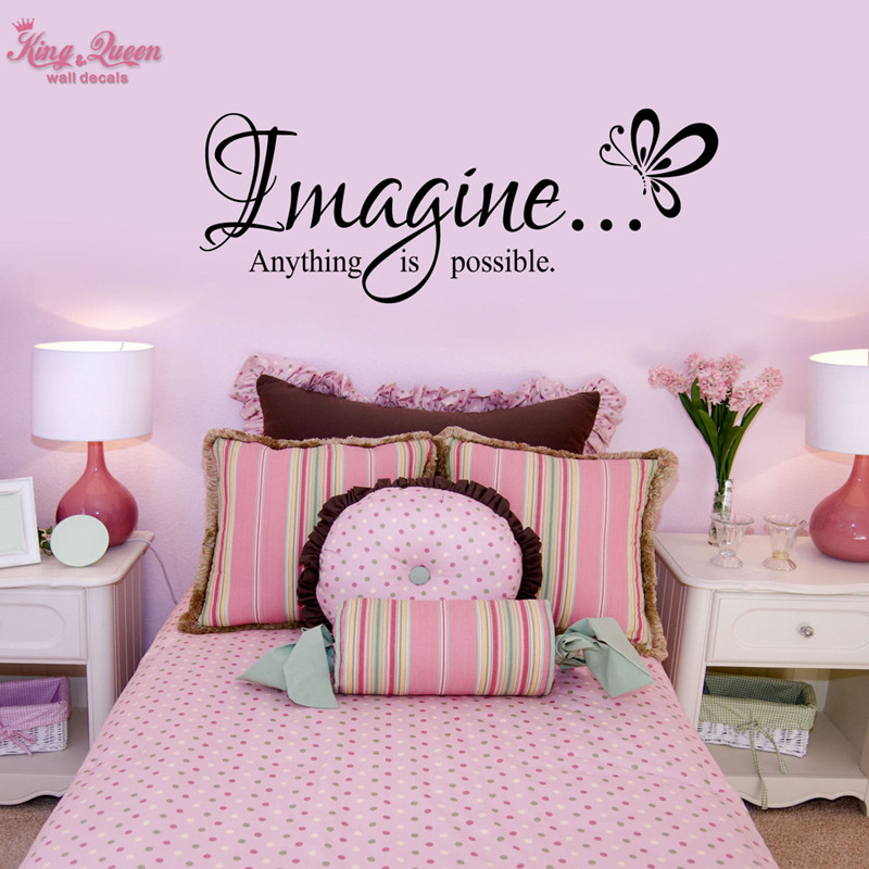 """""""Imagine Anything Is Possible"""" Quotes Decals Butterfly"""