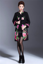 Stand up collar bell sleeve ladies classic embroidered cotton coat for winter Trench coat supplier from China