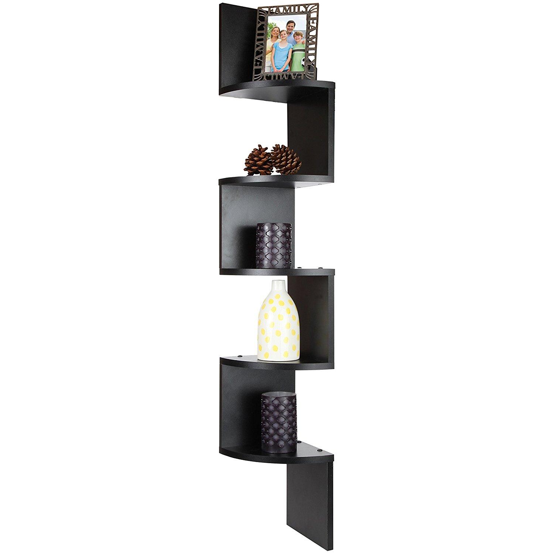 5 Tier Black Large Corner Floating Wooden Zig Zag Shelf display storage by ARAD
