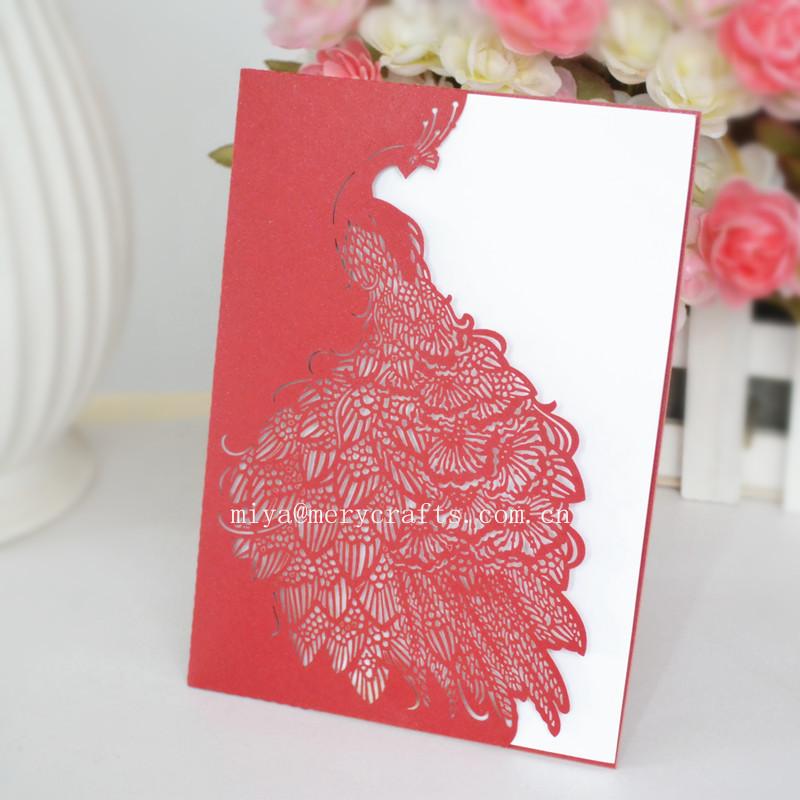 Wedding Invitation Card Paper: Laser Cut Paper Peacock Wedding Invitations Red