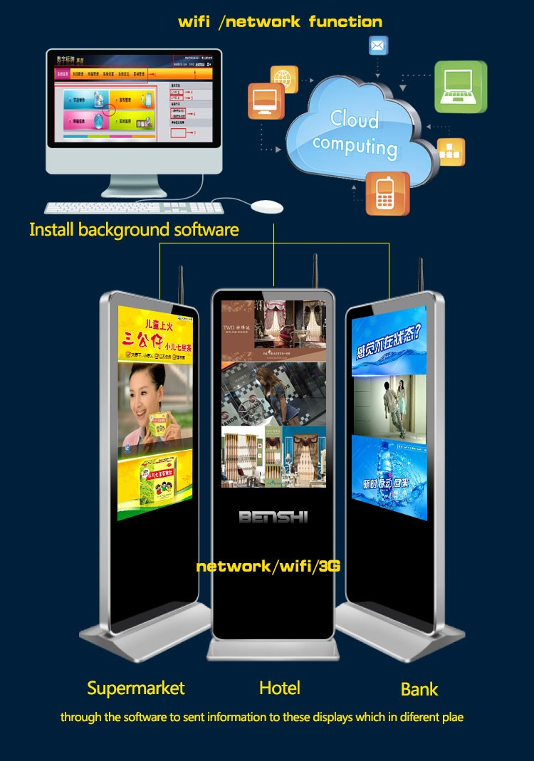 """55"""" Floorstanding Advertising Board With Transparent Lcd Glass; 16 ..."""