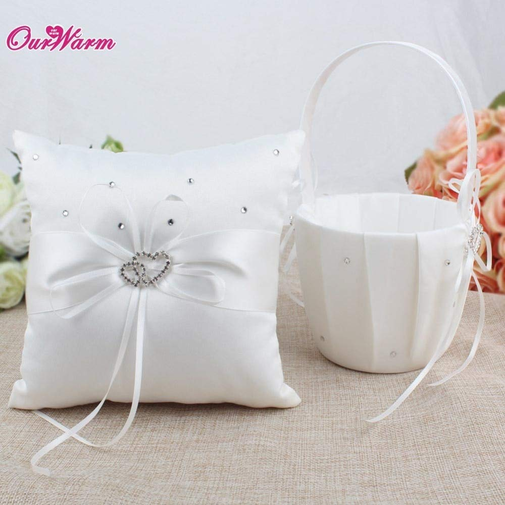 HATABO Carlying Basket Decorations Wedding Wedding Basket for Flower Girls Flower Girl Basket and Ring Pillow Set for Wedding Decoration Event Party Supplies (Random)