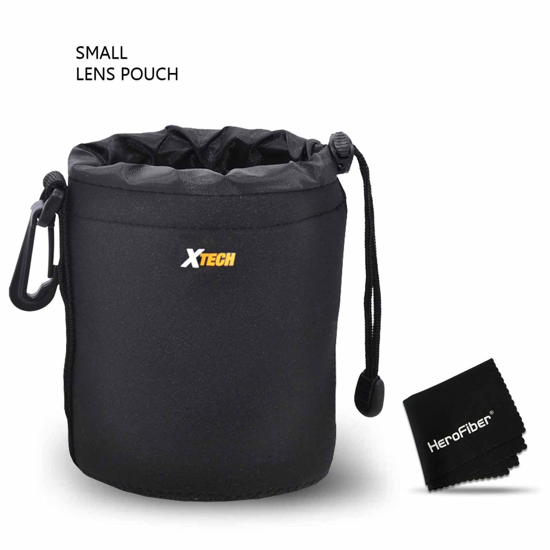 Xtech Small Soft Neoprene Lens Pouch for Canon, Nikon, Fuji, Leica, Sony, Panasonic, Pentax, Sigma, Tamron, Vivitar, Konica & Minolta Lenses