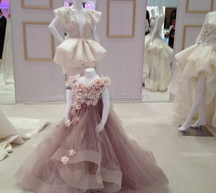2014 New Arrival Cute Lovely A Line Cap Sleeve Long Handmade Formal Roses Flower Kids Wear Girl's Pageant Dress JFD053