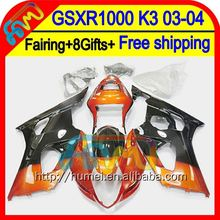 8Gift For SUZUKI GSX R1000 2003 2004 K3 GSX-R1000 2HM19 Orange black GSXR 1000 K3 03-04 GSXR-1000 GSXR1000 03 04 Fairing Black