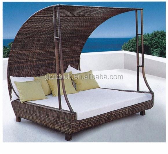 Hochwertig Bali Heißer Produkt Garten Möbel Rattan Runde Outdoor Lounge Bett Mit  Baldachin