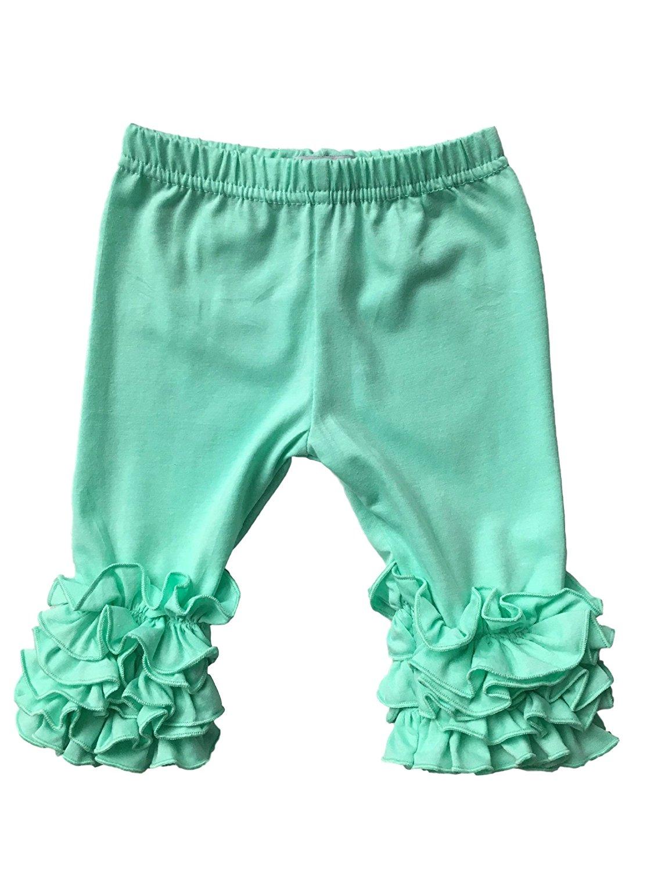 Sweet by Cheeky Banana Little Girls Floral Top /& Ruffle Capri Leggings Pk//lime