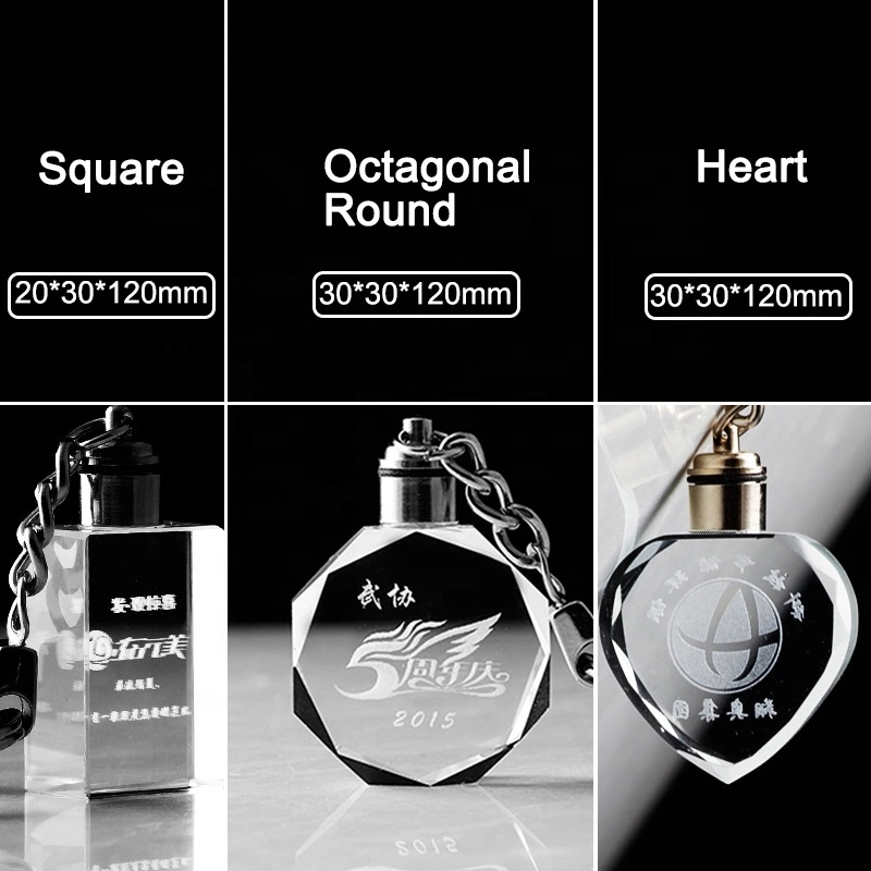 DL-3D 010 Yiwu Wholesale technological custom round square octagonal heart shape led light glass crystal car keychains