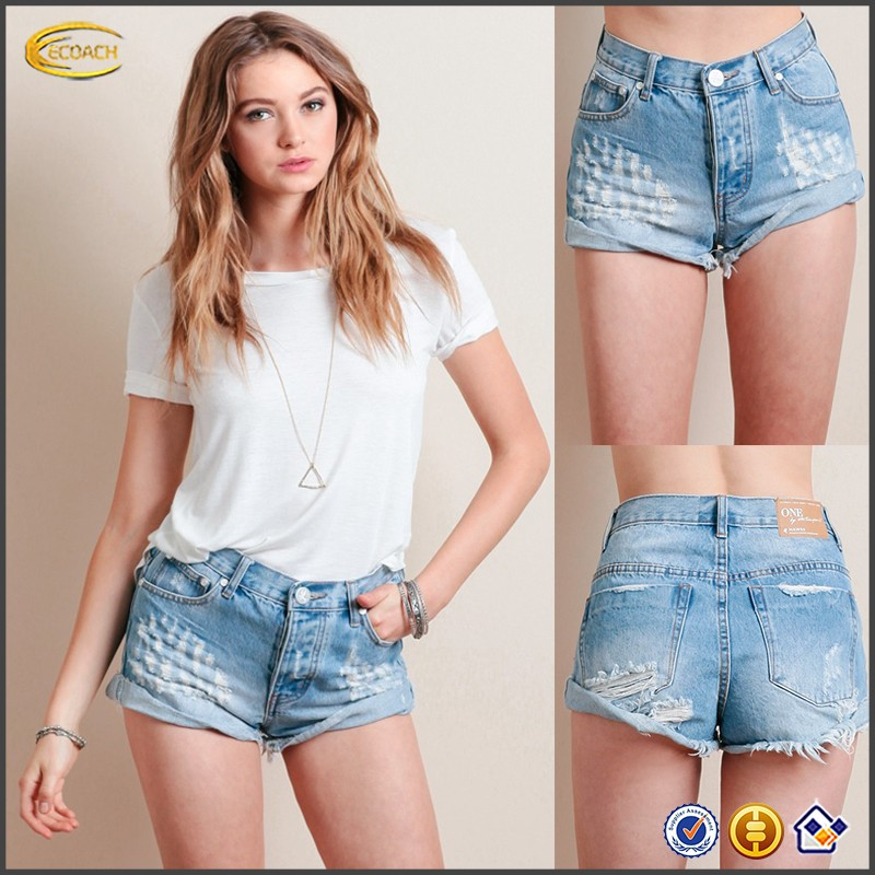 Ecoach Großhandel OEM Mode Sommer Hohe Taille Kurzen Jeans Hose Hot Girls Sexy Board Shorts Gefesselt Ausgefranste Saum Top Design