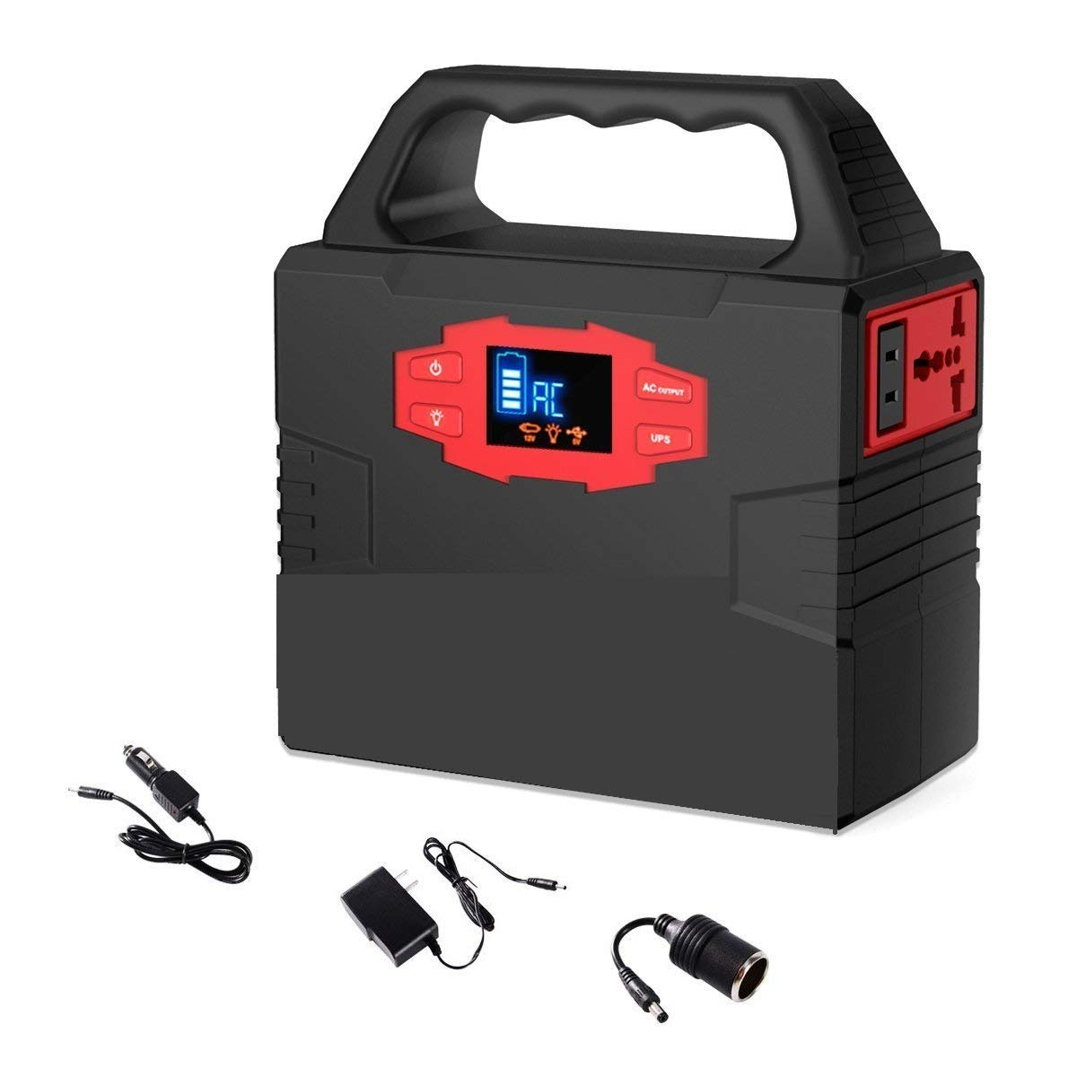 100-Watt Portable Generator Power Station, CPAP Battery Pack, Home Camping Emergency Power Supply Charged by Solar Panel/Wall Outlet/Car with Dual 110V AC Power Inverter, USB Ports, 3 DC 12V Ports