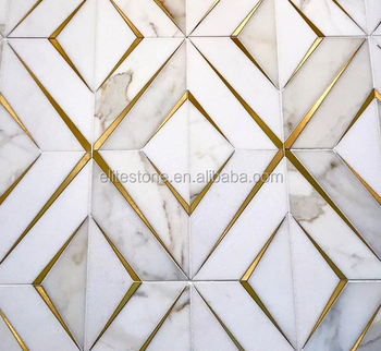 Classic Tile Flooring Brass Tile Inlay With Marble