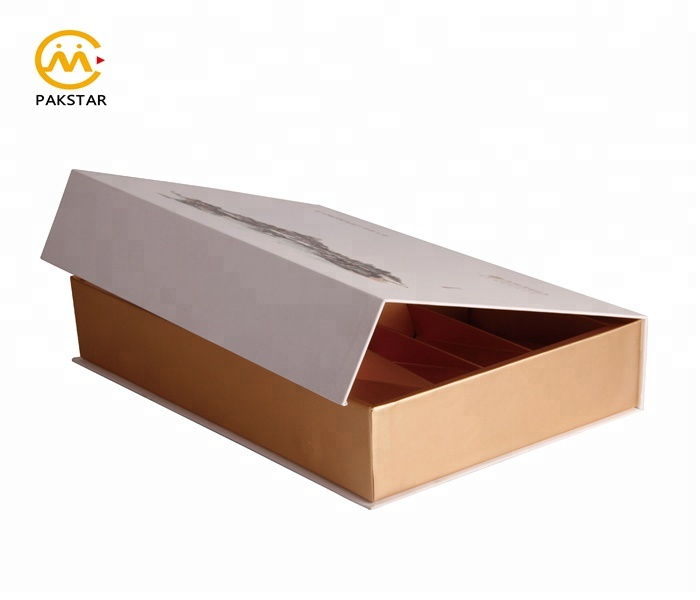 High end custom printed paper divider cardboard packaging box for cosmetic set gift