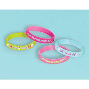 """Disney Minnie Mouse Rubber Bracelets Birthday Party Accessory Favour and Prize Giveaway (4 Pack), Multi Color, 2 1/2"""" x 7/16""""."""