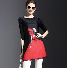 Plus Size 2016 Autumn font b Winter b font New Fashion Vestidos Women Dress Loose Print