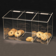 Three Compartments Large Clear Acrylic Food Box with hinged lid