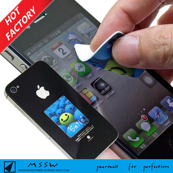 logo printed self adhesive cellphone sticky mini screen cleaner for iphone6