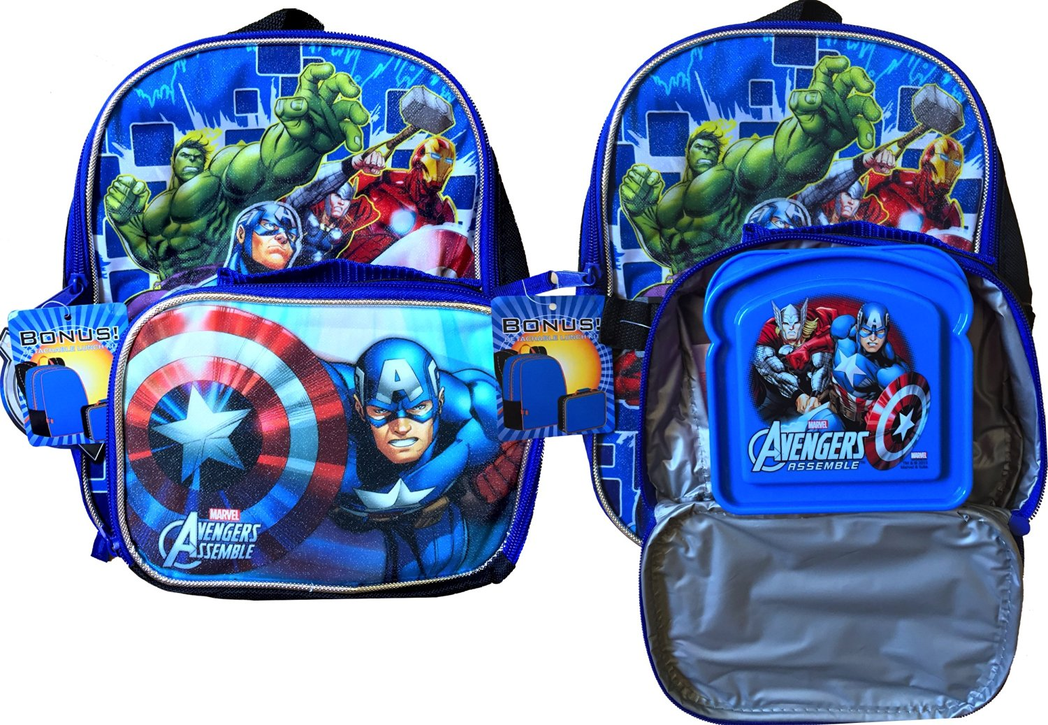Marvel Avengers 16 School Backpack With Detachable Lunch Box