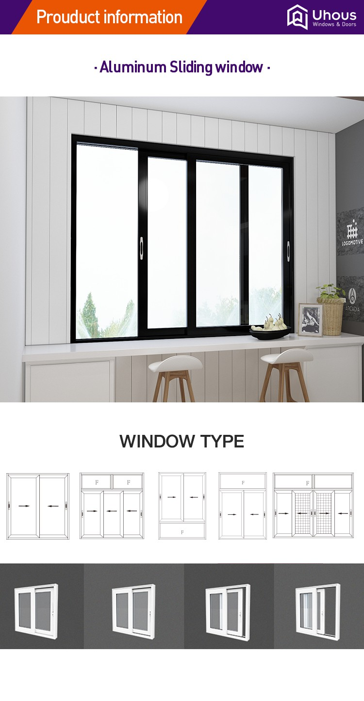 New products Latest design windows and doors China supplier Aluminium Sliding Window