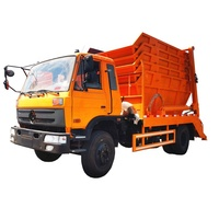 Dongfeng 6 wheelers swing arm garbage truck with 5 garbage bins for sale