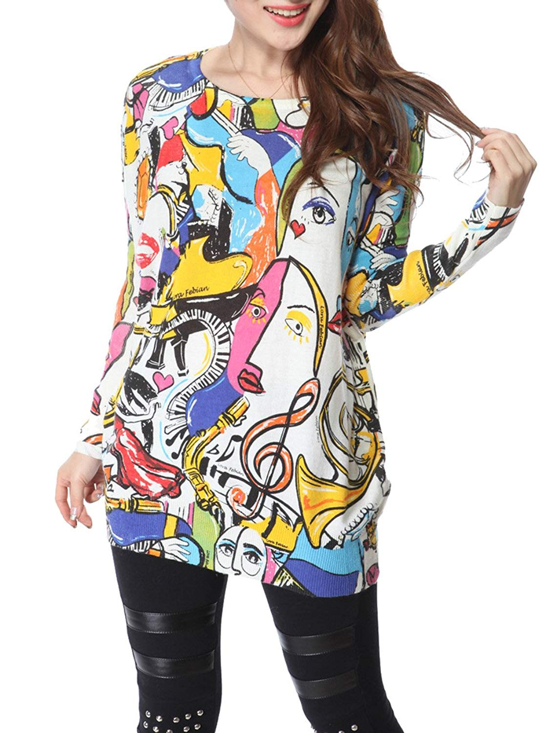 c34addbb0d630 Get Quotations · ELLAZHU Women Baggy Abstract Painting Knit Pullover Sweater  Onesize SZ38