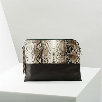 Handmade 100% Genuine Python Snakeskin Leather Magazine Clutch Purse Women