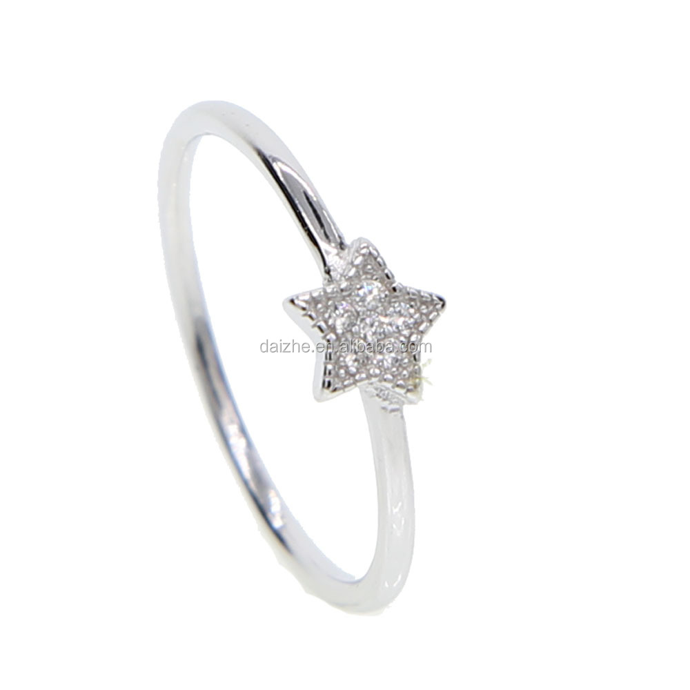 Hot new products for 2018 fashion 925 sterling silver tiny band star rings with cz paved midi rings for young girl