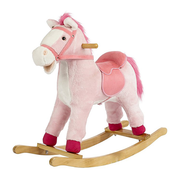 stuffed rocking horse pink, children ride on toy