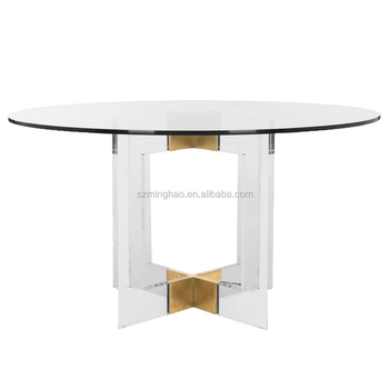 Round Shape Dining Table Clear Acrylic