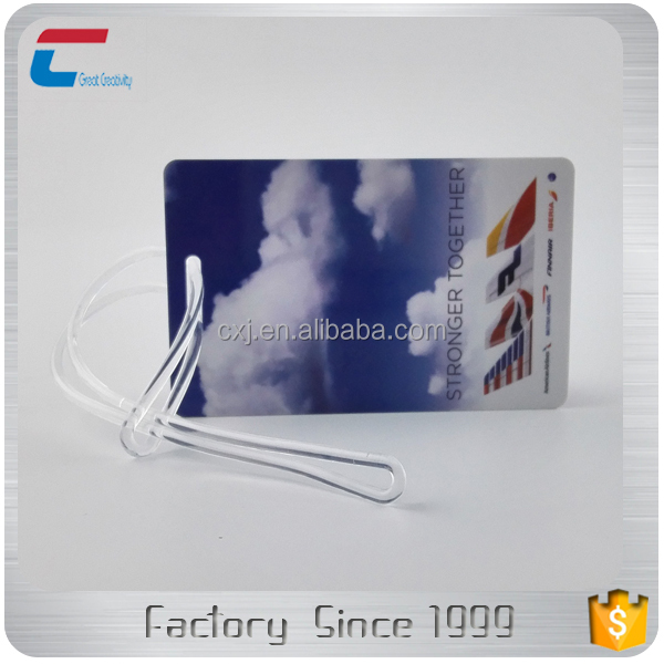 Cool Plastic PVC Indestructible Airline Luggage Tag with Clear Strap