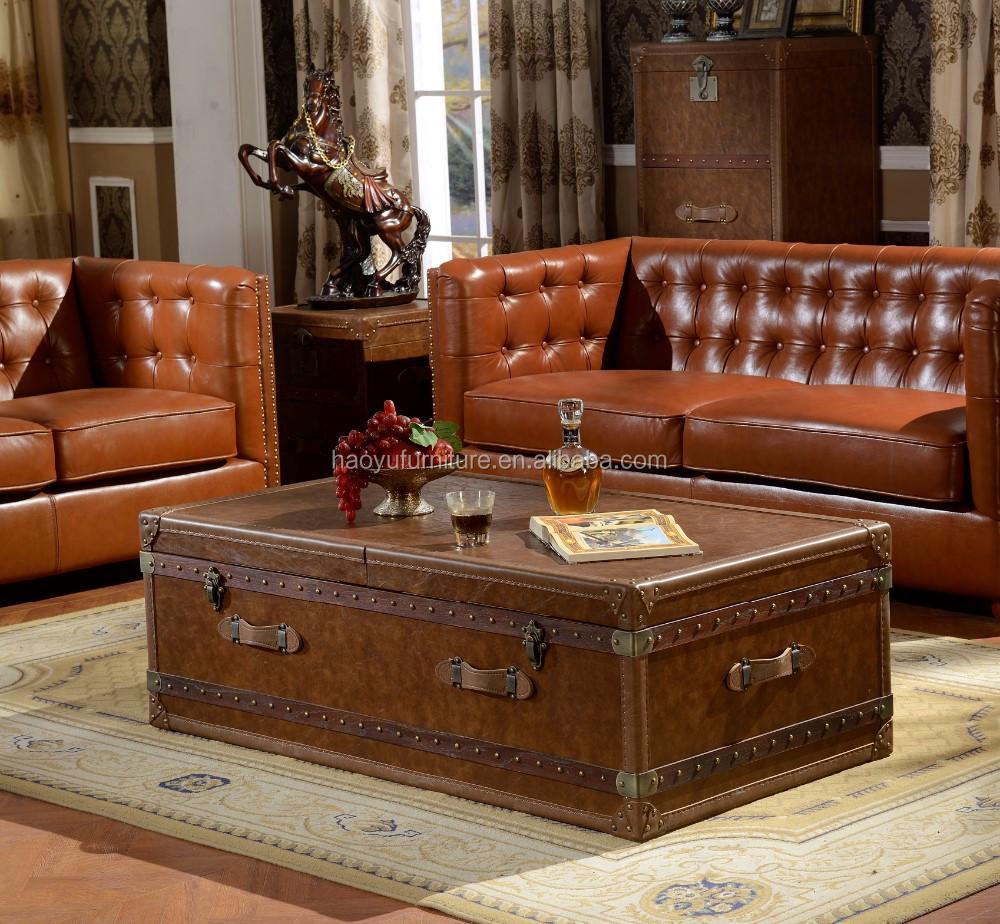 Retro Leren Bank.B011 Nieuw Design Woonkamer Meubels Bank Amerikaanse Stijl Sofa