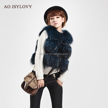 Spring short women knitted raccoon fur vest with leather belt