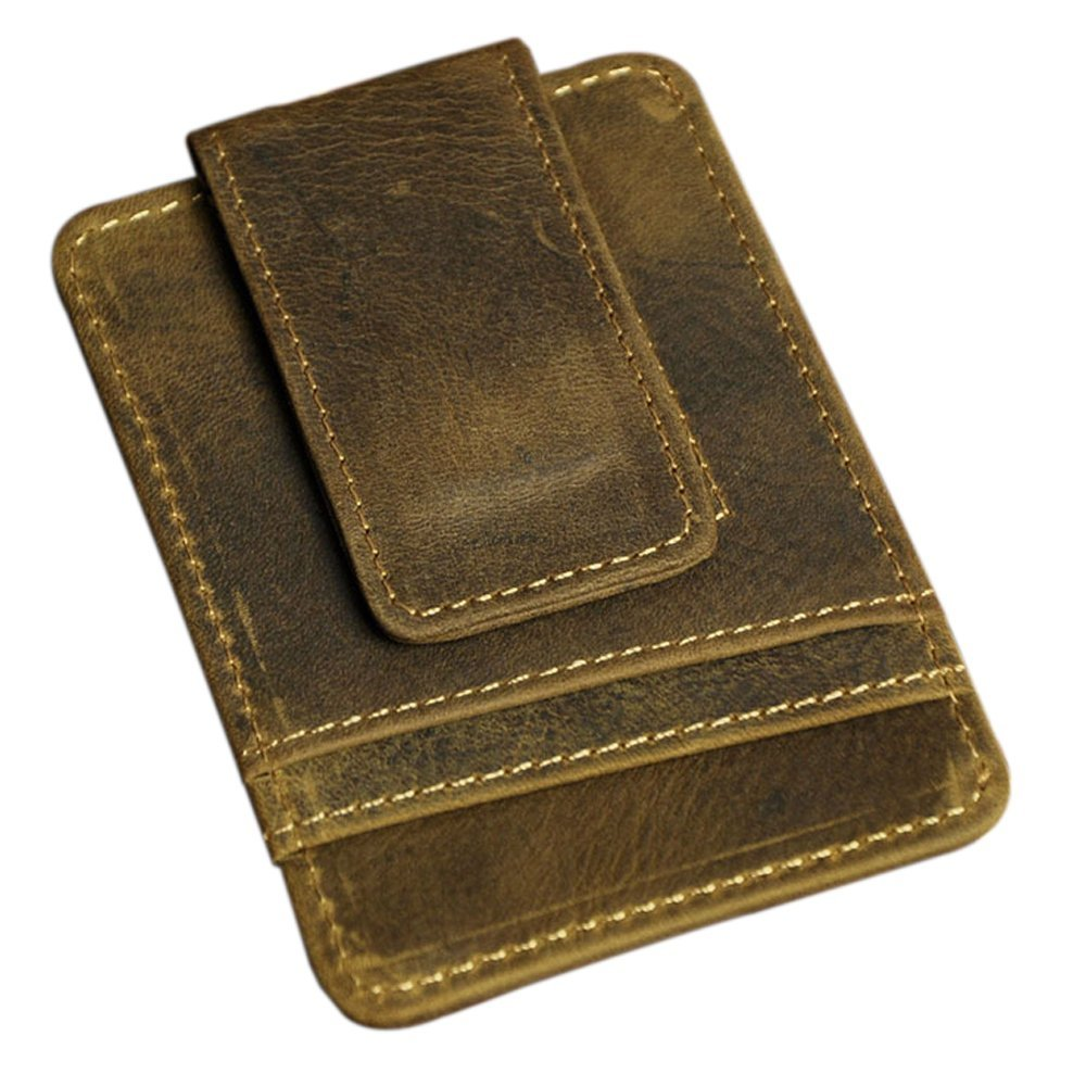 Boshiho men leather slim wallet genuine with rfid blocking sleeve