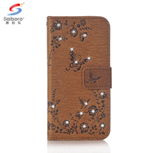 Phone accessories flip diamond pu leather mobile phone case for iphone 8 7plus 7 6 5