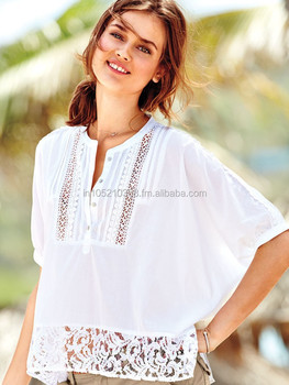 bee95fd5c5 Beautiful white crochet lace tops and blouse beach tunics kaftan blouse  cotton kurtis and blouse embroidered