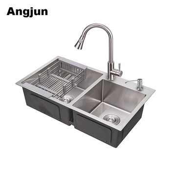 Best Price Farmhouse 22 cm Depth Double Bowl Brushed Kitchen Sink