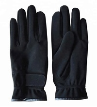 Black Synthetic Leather Horse Riding Glove
