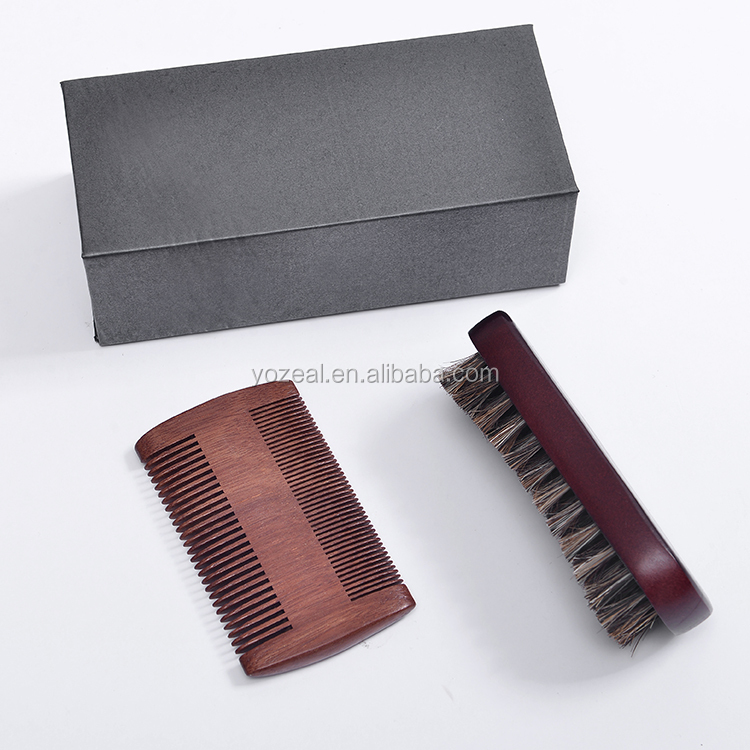 Mix horse and PP hair men beard brush with red sandalwood Comb set