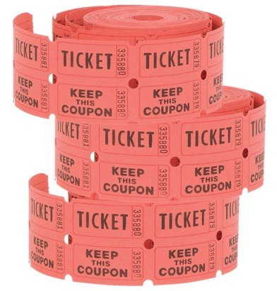 Double Ticket Roll Raffle Tickets, Three rolls of 500ct each (Colors May Vary)