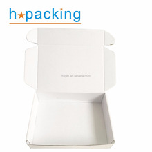 Custom Logo Imprinted White Corrugated Shipping Box Folding Style Tuck Top