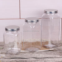 transparent square jar with lid honey candy jam preserve jars pickle cookie glass containers